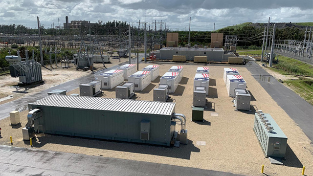 view of battery containers and inverters